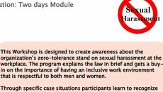 Training Program on sexual harassment of women at work place, Prevention, Prohibition and Redressal Act, 2013. (Posh Tra